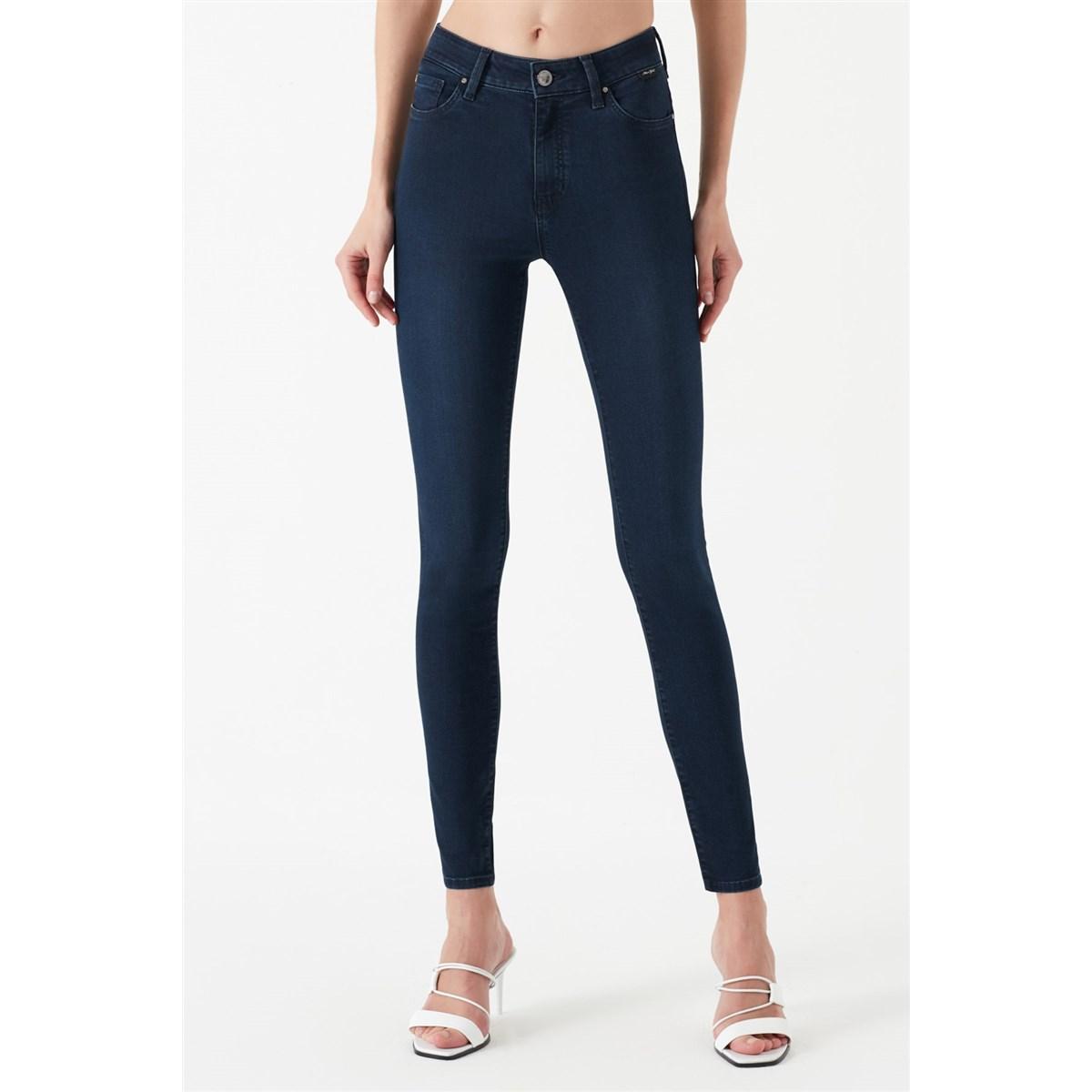 Alissa Gold Shape Kadın Mavi Jean Pantolon
