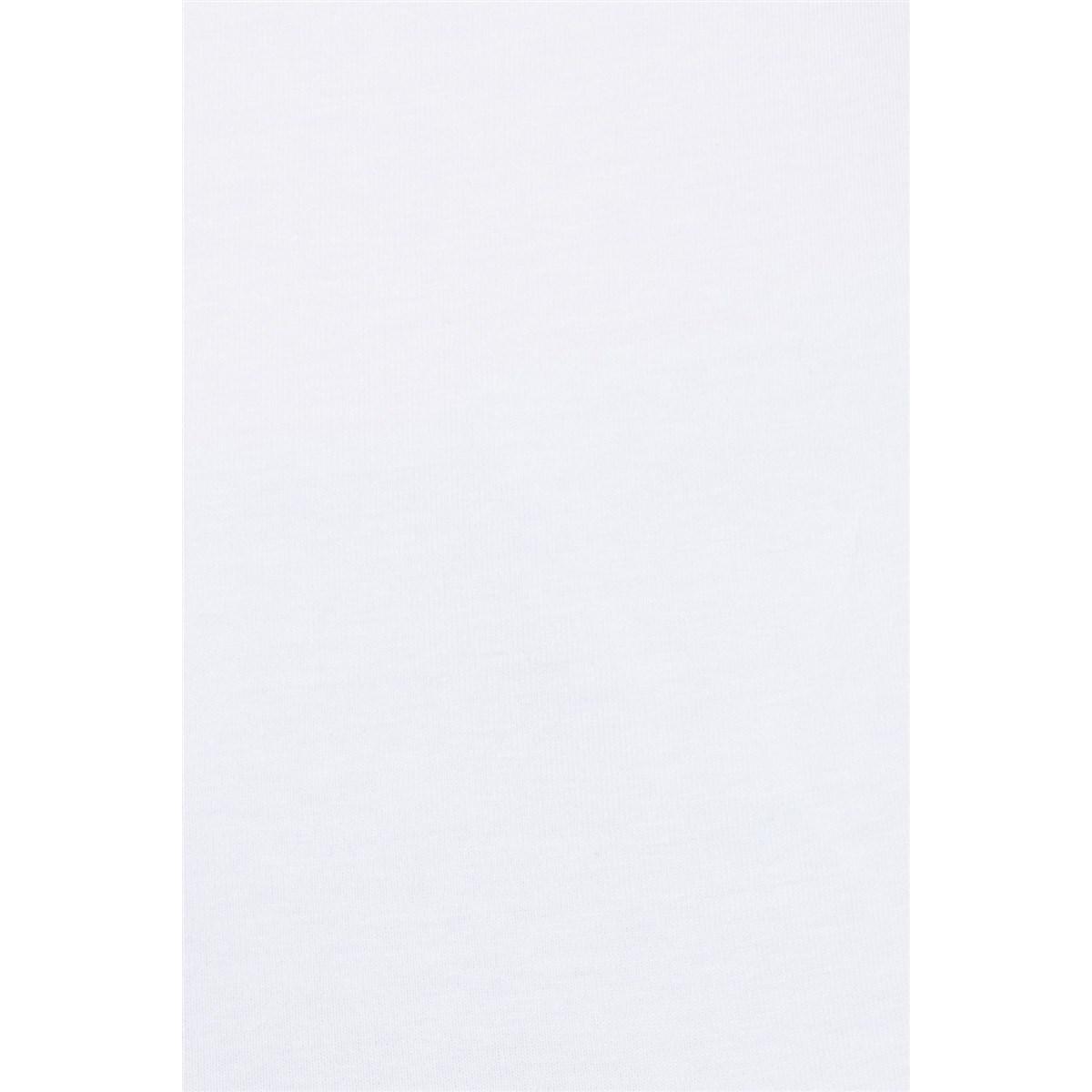 Mavi Düz Beyaz Kadın Günlük Basic Tişört