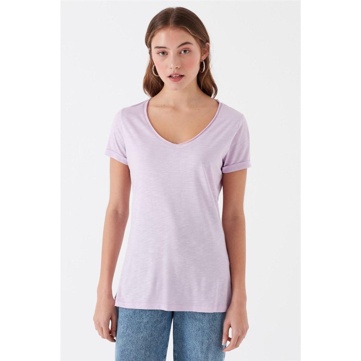 Mavi V Yaka Kadın Açık Lilla Basic Tişört