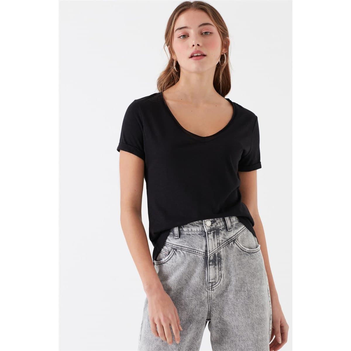 Mavi V Yaka Kadın Düz Siyah Basic Tişört