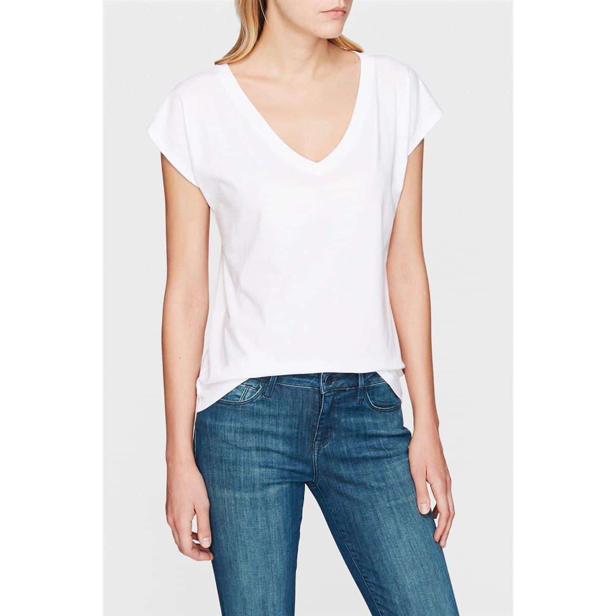 Mavi V Yaka Kadın Basic Beyaz Günlük Tişört