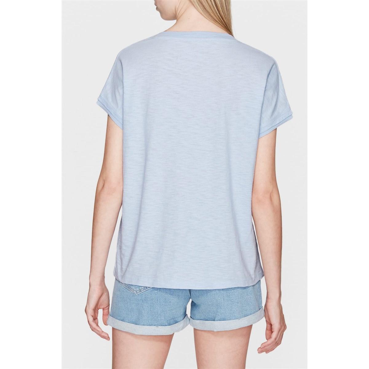 Mavi V Yaka Kadın Pus Mavisi Tişört (rahat kesim)