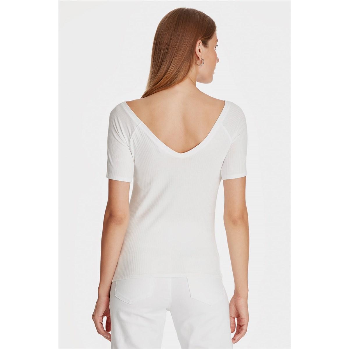 Mavi Derin V Yaka Kadın Beyaz Basic Tişört