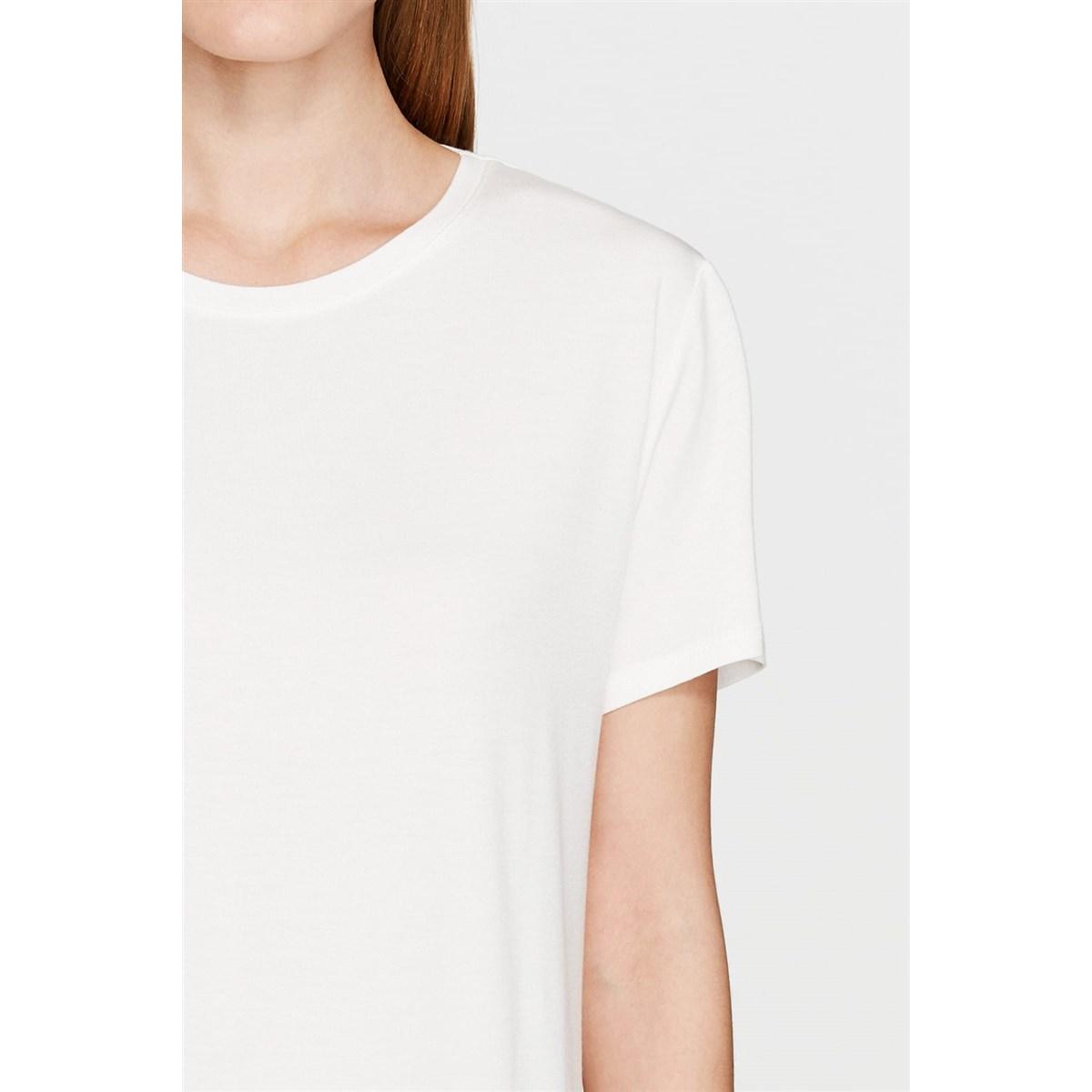 Mavi Kadın Yırtmaç Detaylı Beyaz Basic T-Shirt