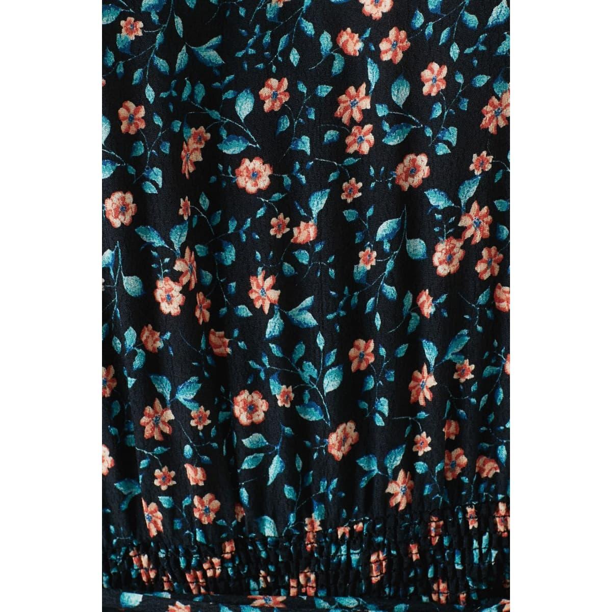 Çiçek Desenli Siyah Kadın Elbise