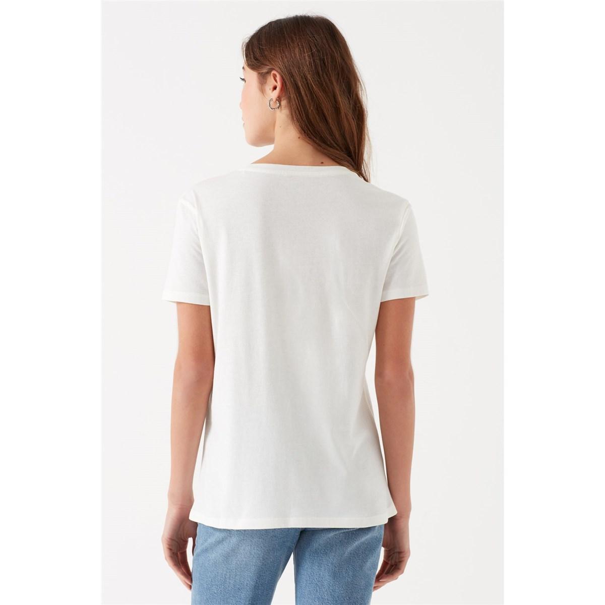 Mavi Jeans Baskılı Kadın Beyaz Tişört