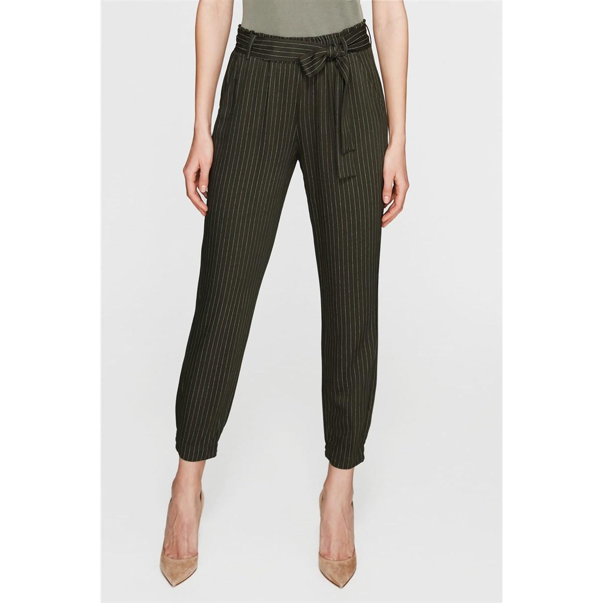 Beli Lastikli Çizgili Haki Kadın Günlük Pantolon