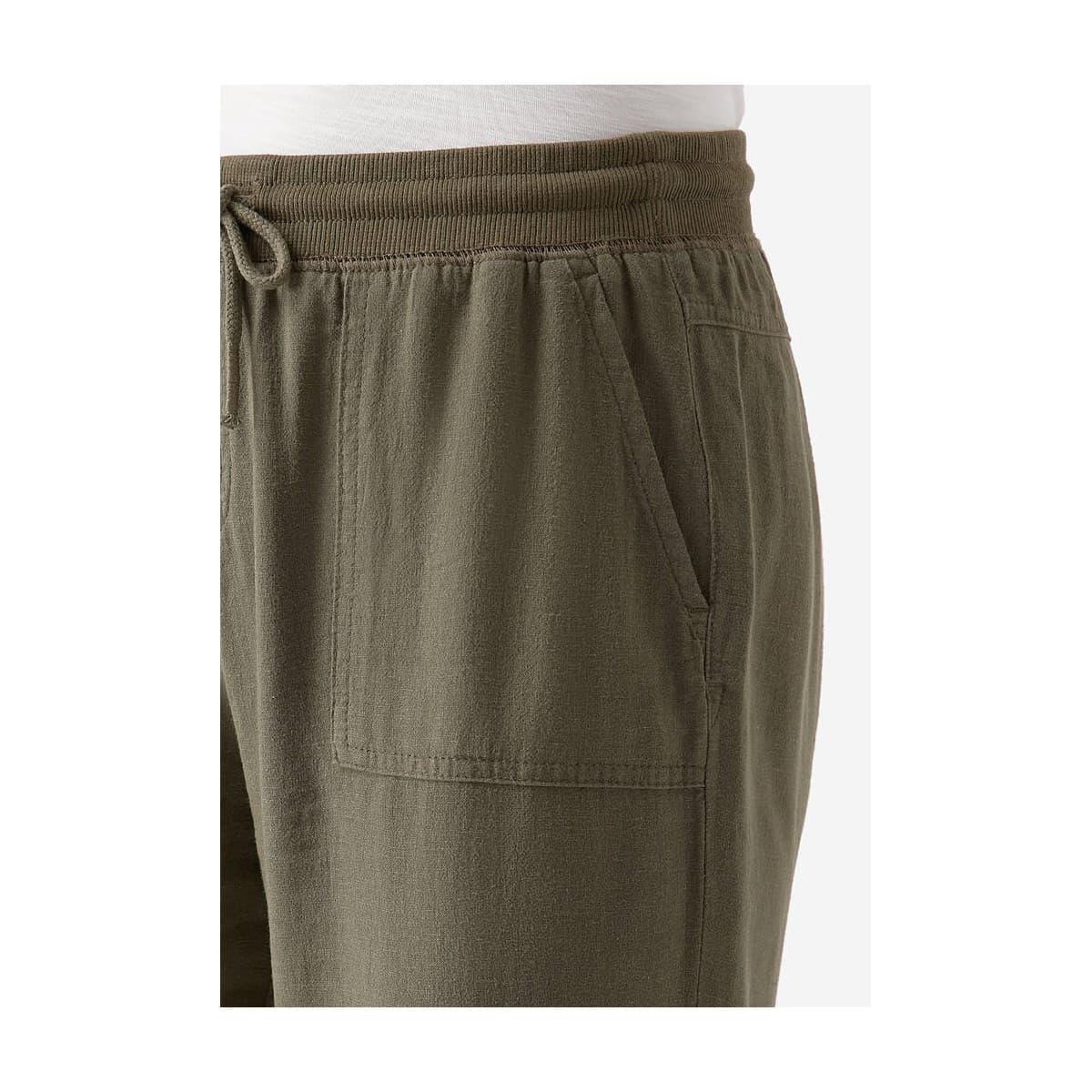 Bağcıklı Siyah Keten Kadın Pantolon