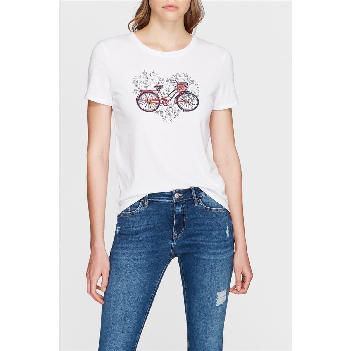 Bisiklet Baskılı Beyaz Kadın Tişört