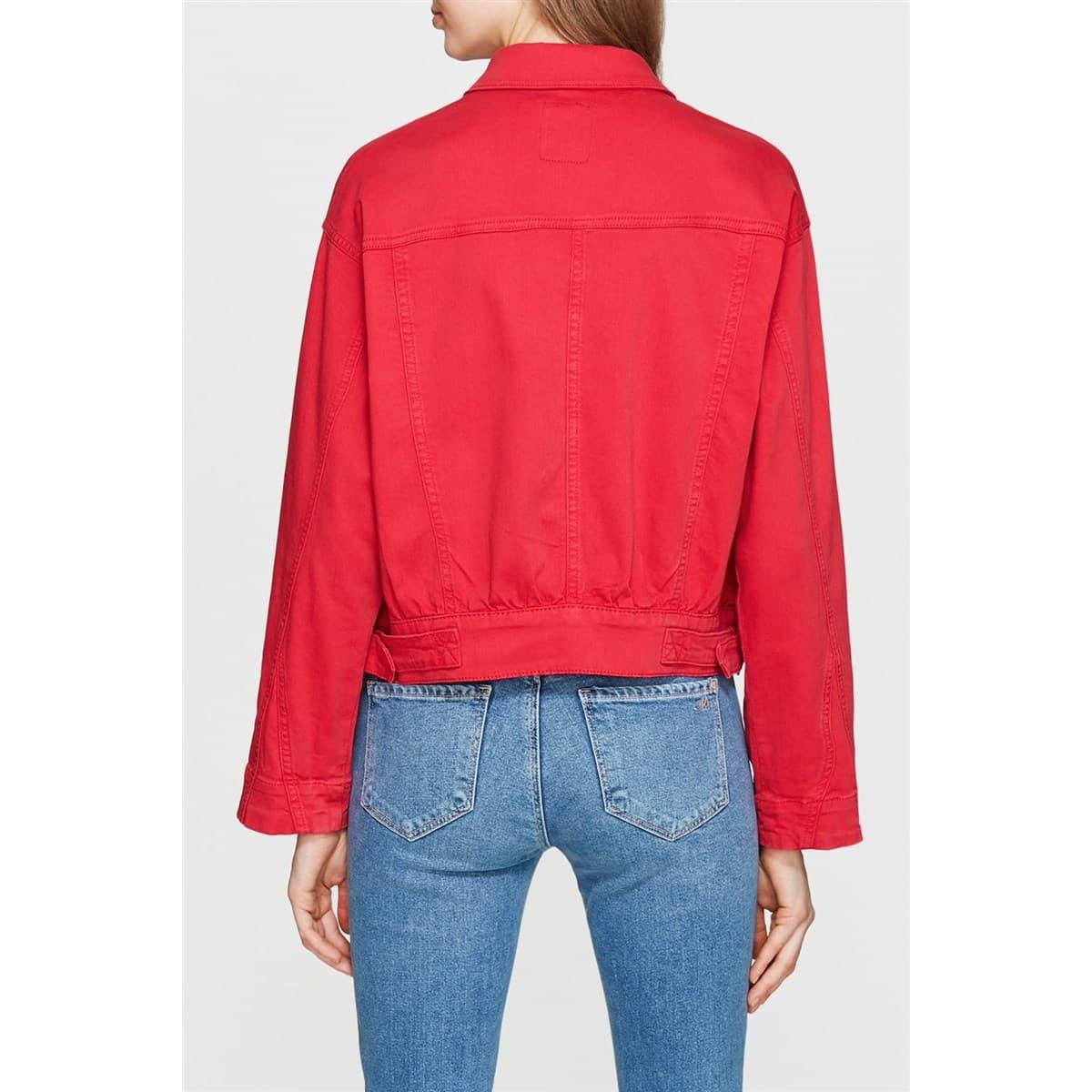 Cep Detaylı Kırmızı Kadın Kot Ceket
