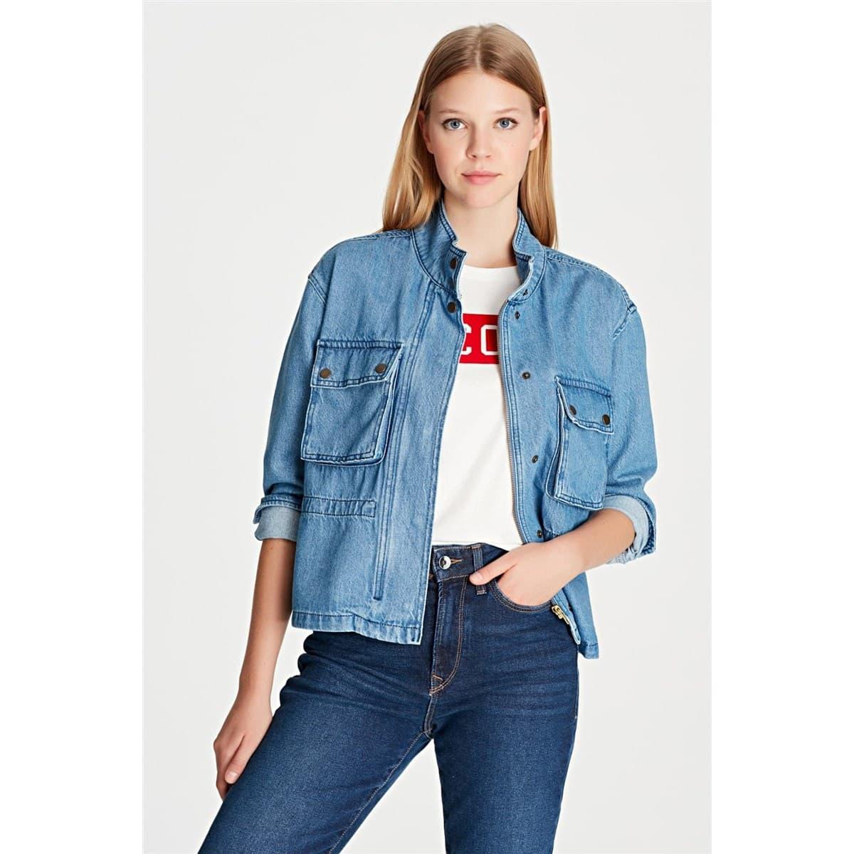 Cepli İndigo Kadın Mavi Kot Ceket