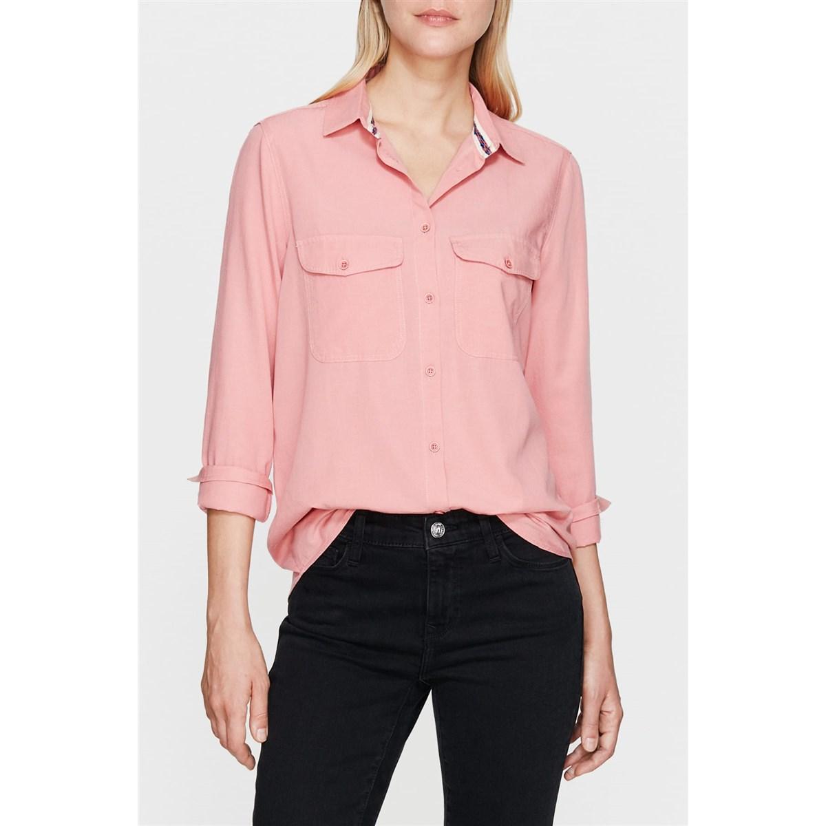 Kadın Cepli Soluk Pembe Gömlek