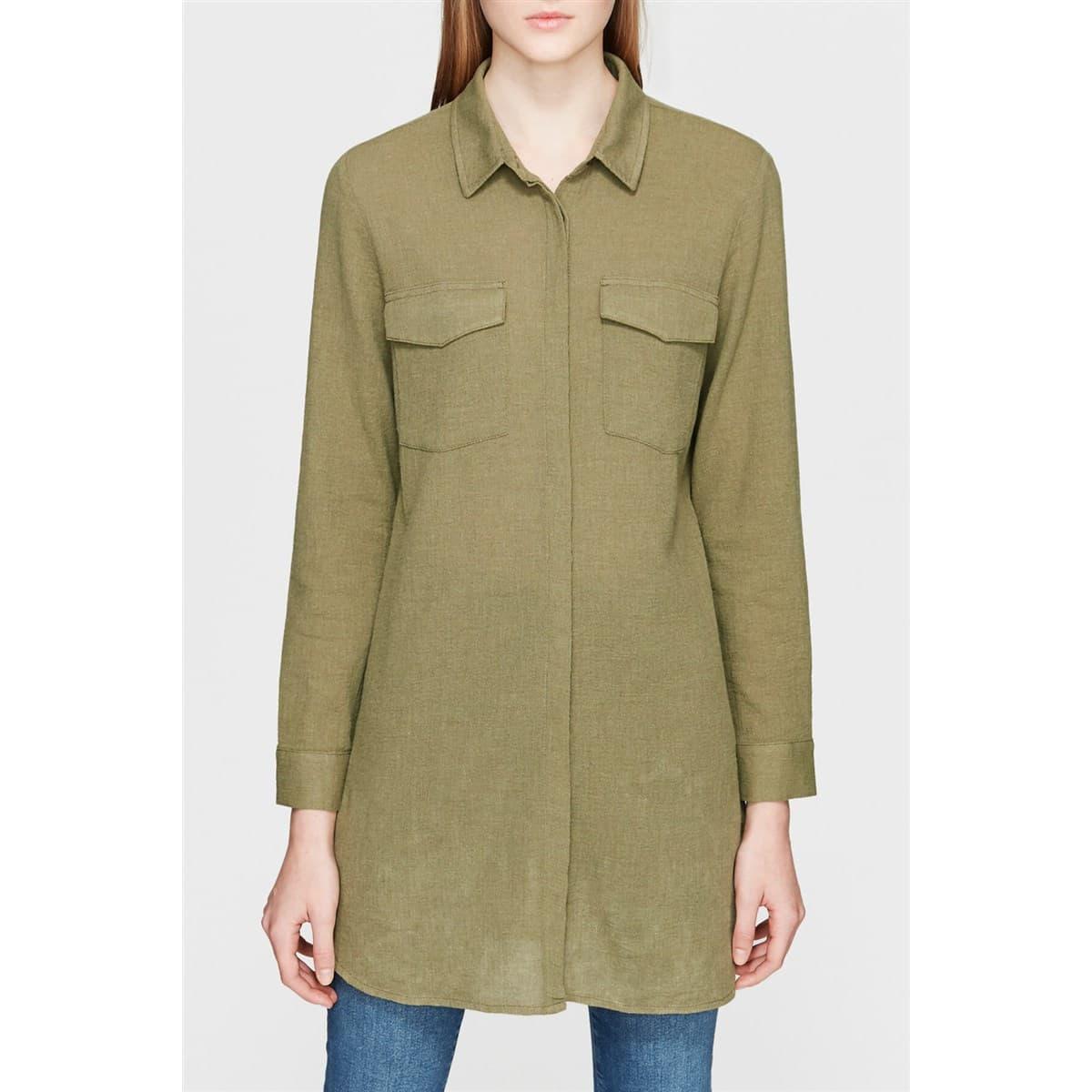 Kadın Cepli Uzun Yeşil Gömlek