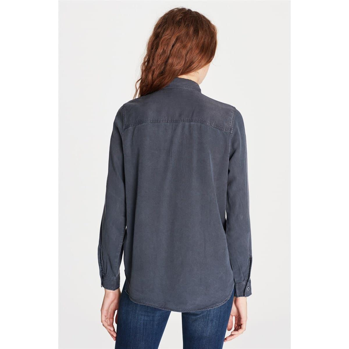 Kadın Cepli Siyah Kot Gömlek