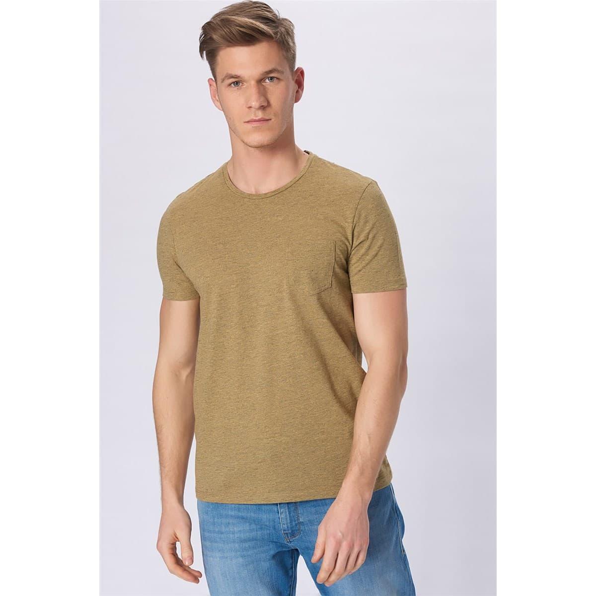 Erkek Cepli Soluk Sarı Tişört