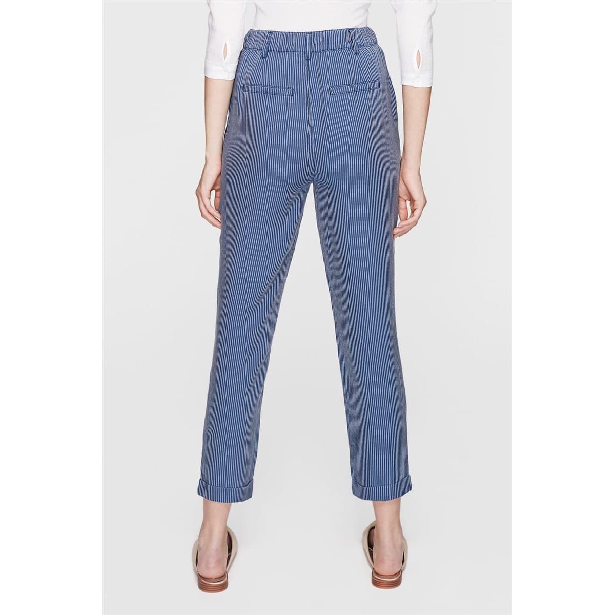 Kadın Çizgili İndigo Mavi Pantolon