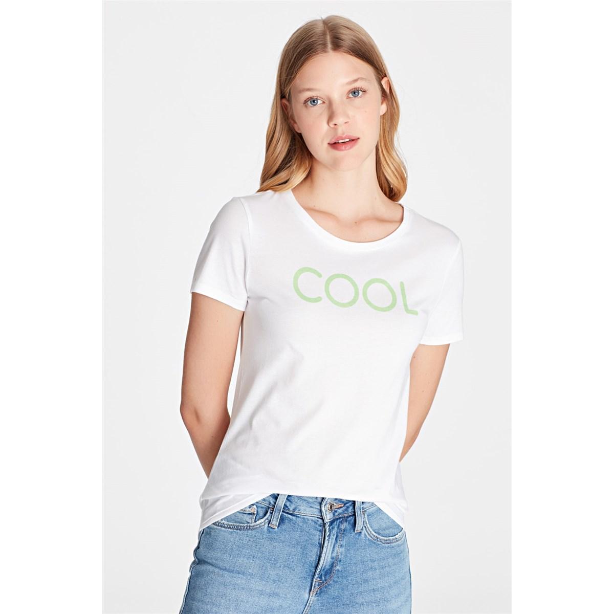 Cool Baskılı Kadın Beyaz Tişört