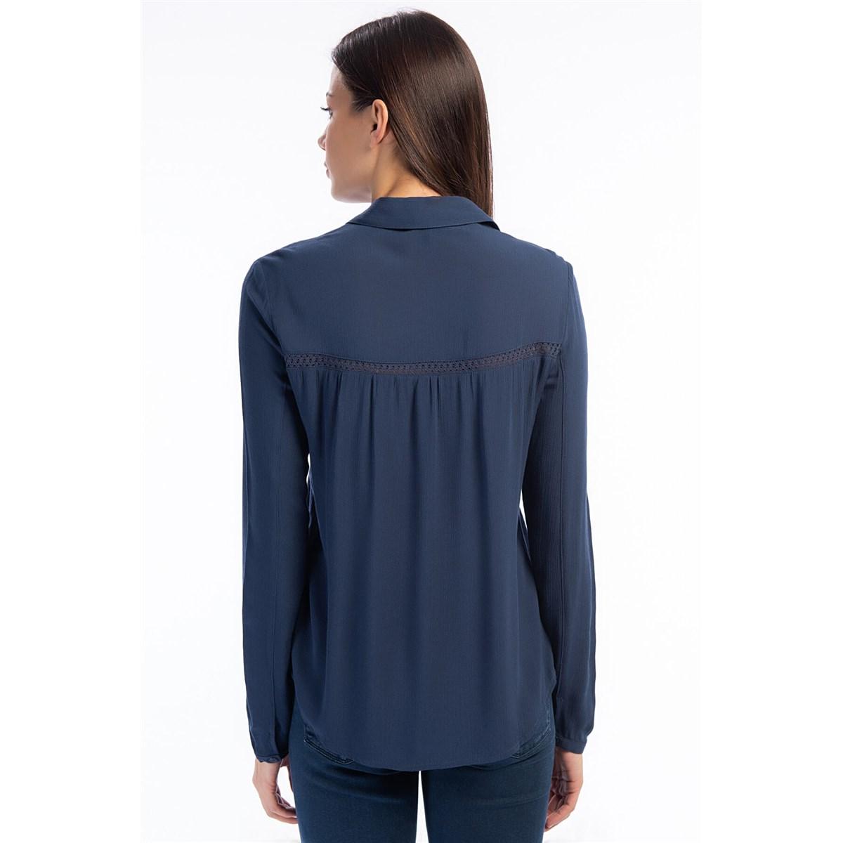 Dantel Detaylı Kadın Derin Mavi Gömlek