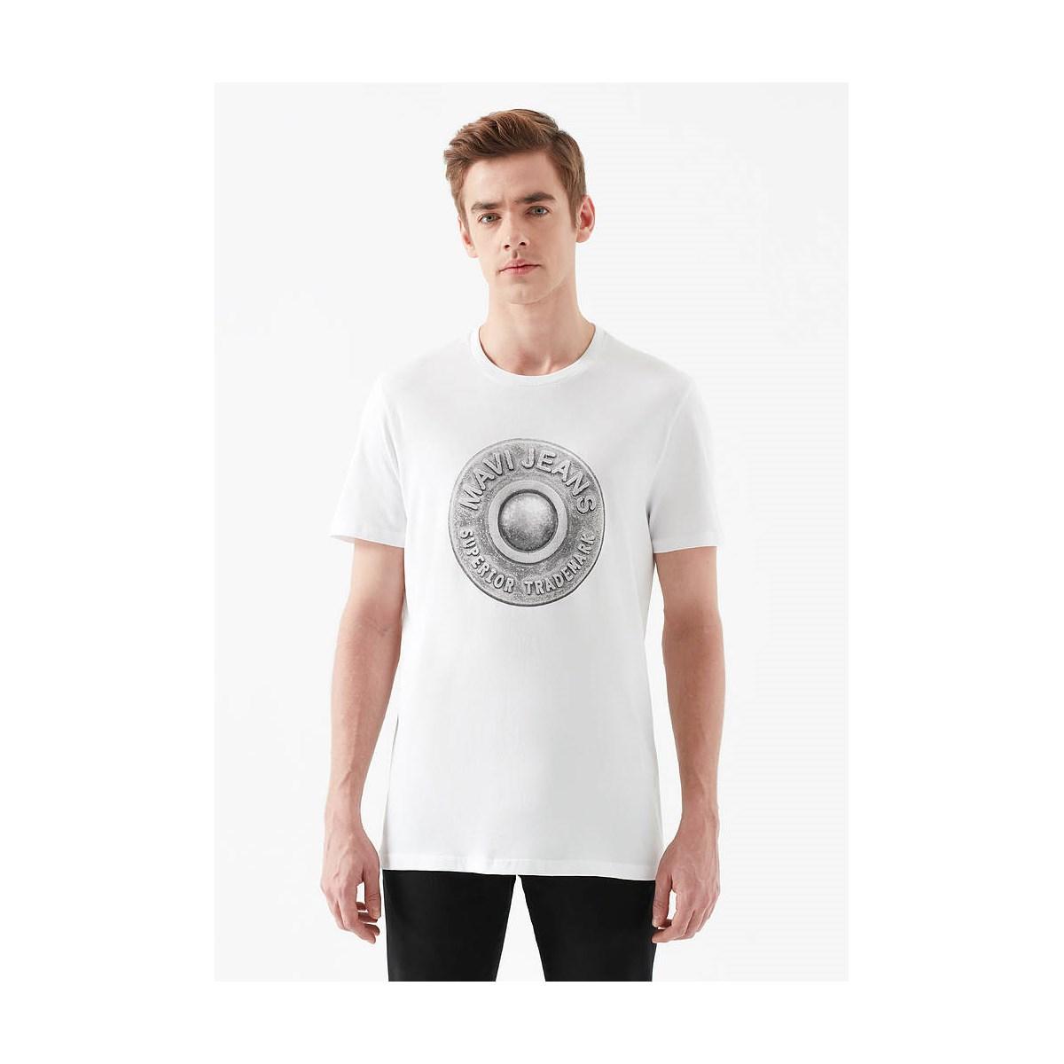 Düğme Baskili Tişört