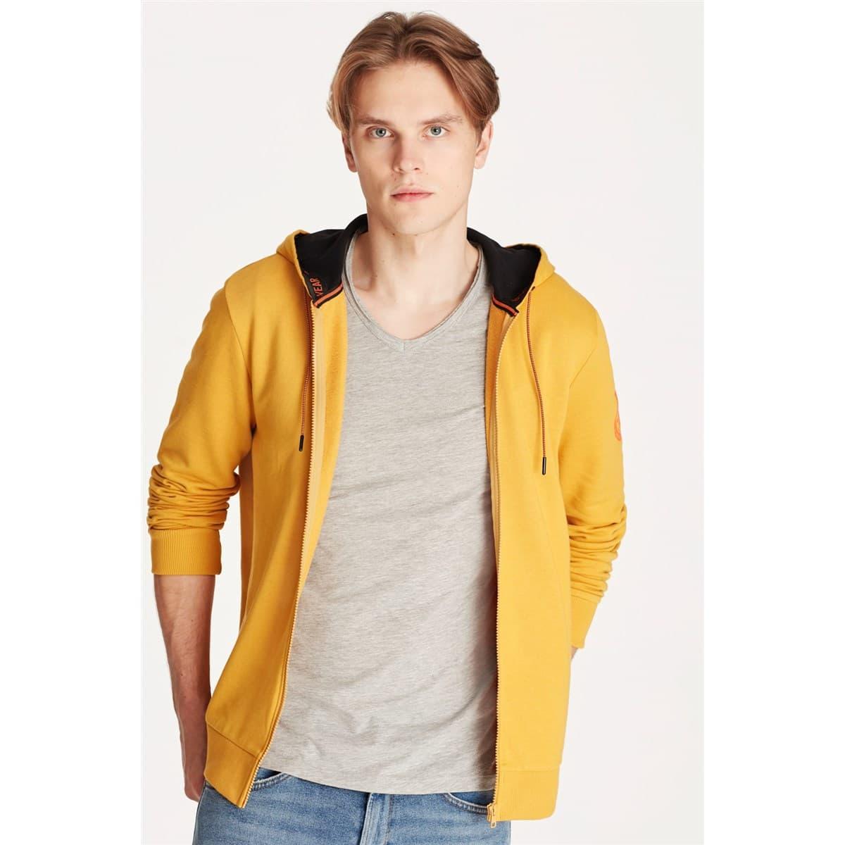 Mavi Jeans Fermuarlı Erkek Sarı Sweatshirt