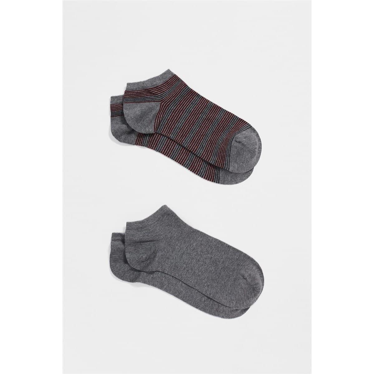 İkili Patik Çorap Gri Melanj