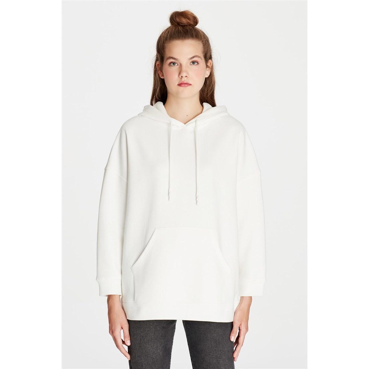 Kapüşonlu Kadın Beyaz Sweatshirt (168327-28945)