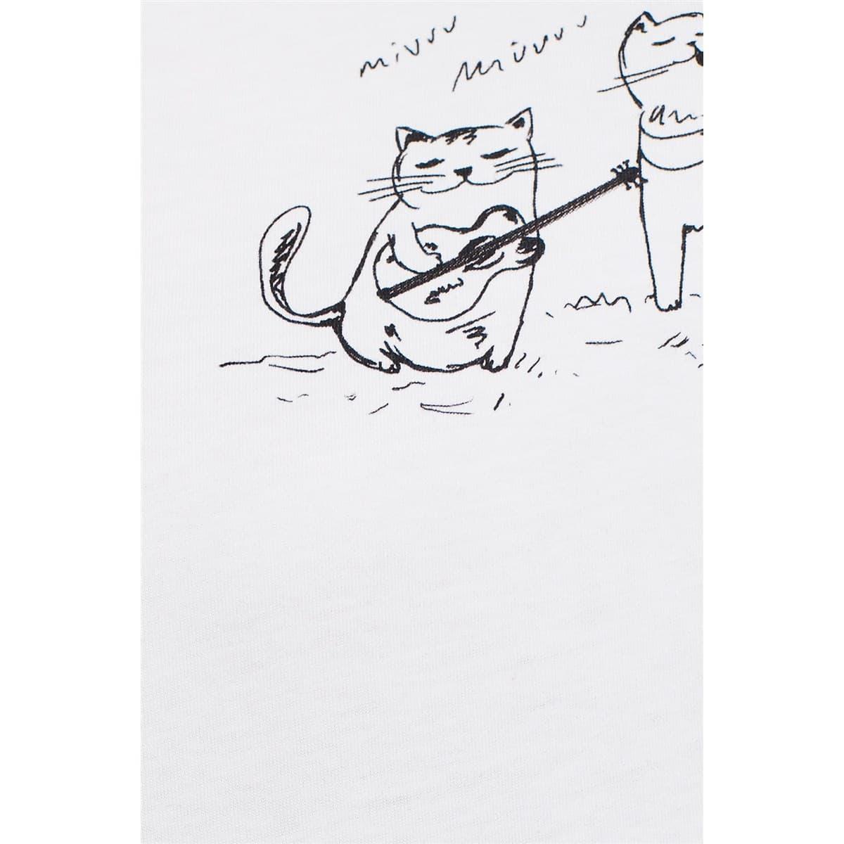 Kediler Bakili Tişört Beyaz