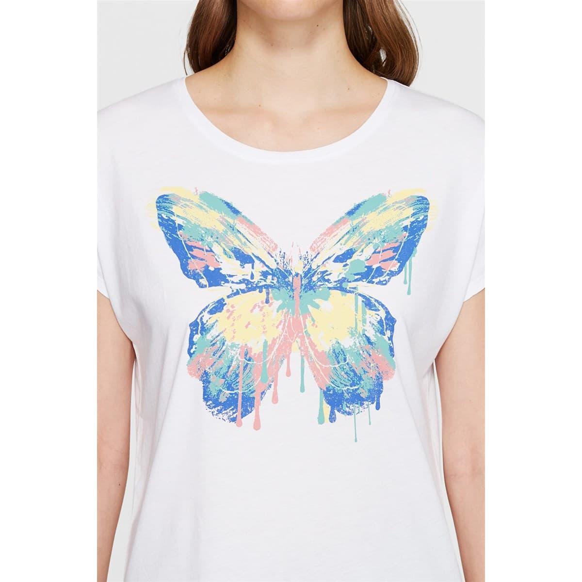 Kelebek Baskili Penye Beyaz