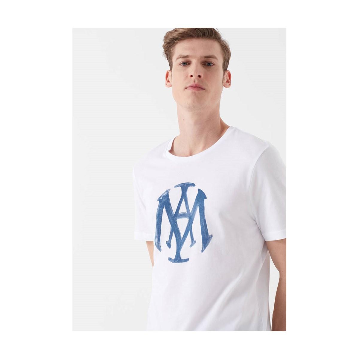 Mavi Logo Tişört Beyaz