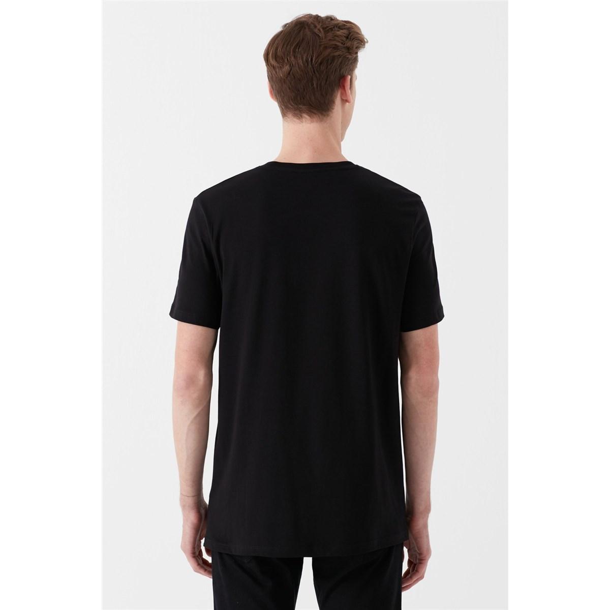 Mood Baskili Tişört Siyah