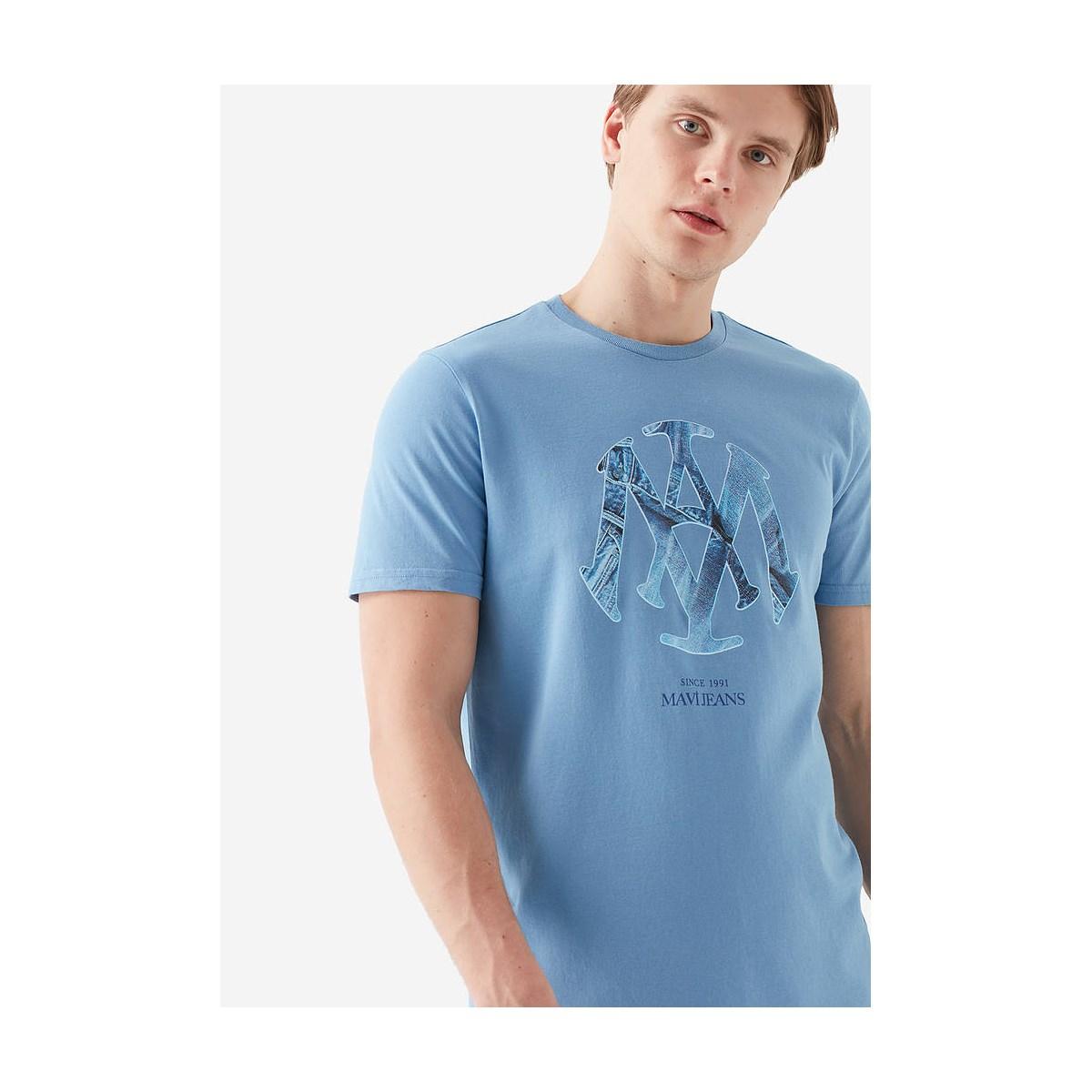 Mühür Logo Tişört Azur Mavi