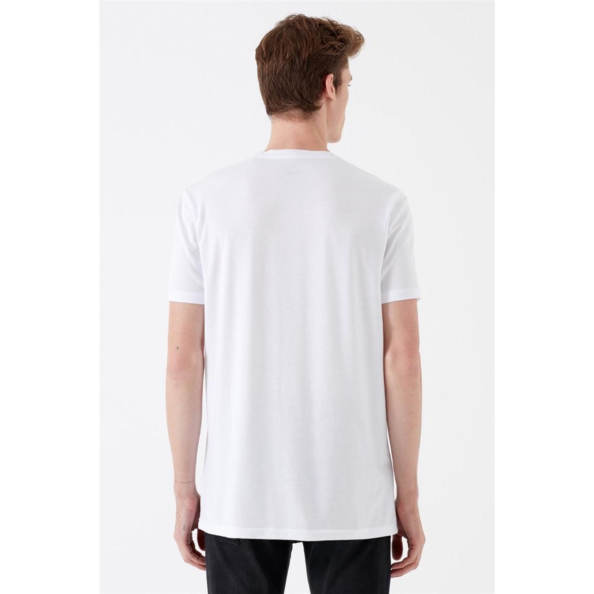 Omzu Baskili Tişört Beyaz