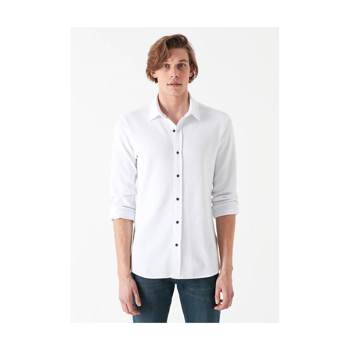 Örme Gömlek Beyaz