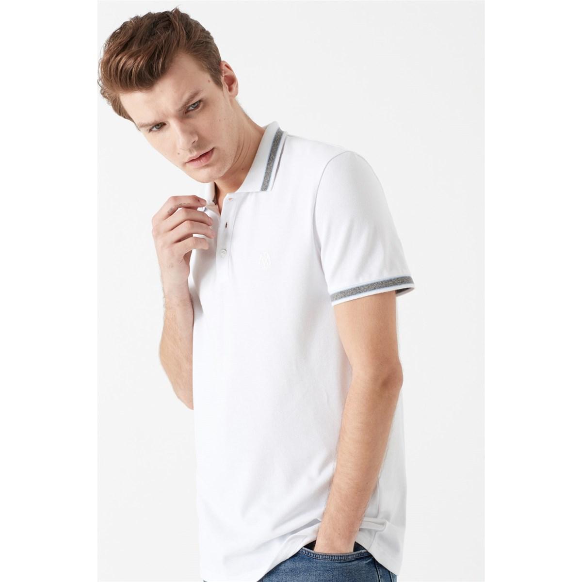 Mavi Jeans Polo Yaka Erkek Beyaz Tişört (065889-620)