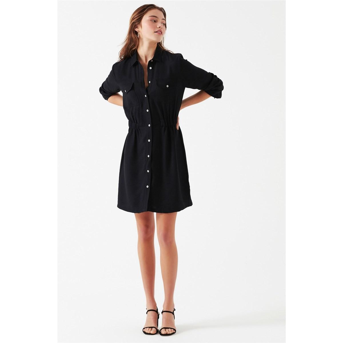 Uzun Kollu Elbise Siyah