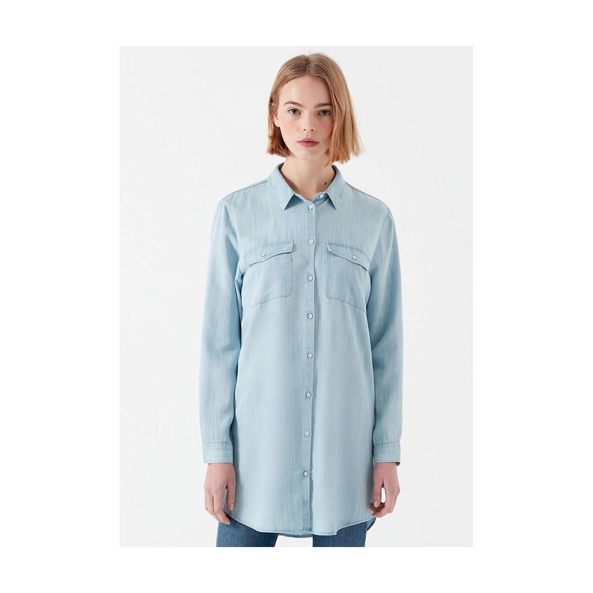 Uzun Kollu Gömlek Açık Indigo