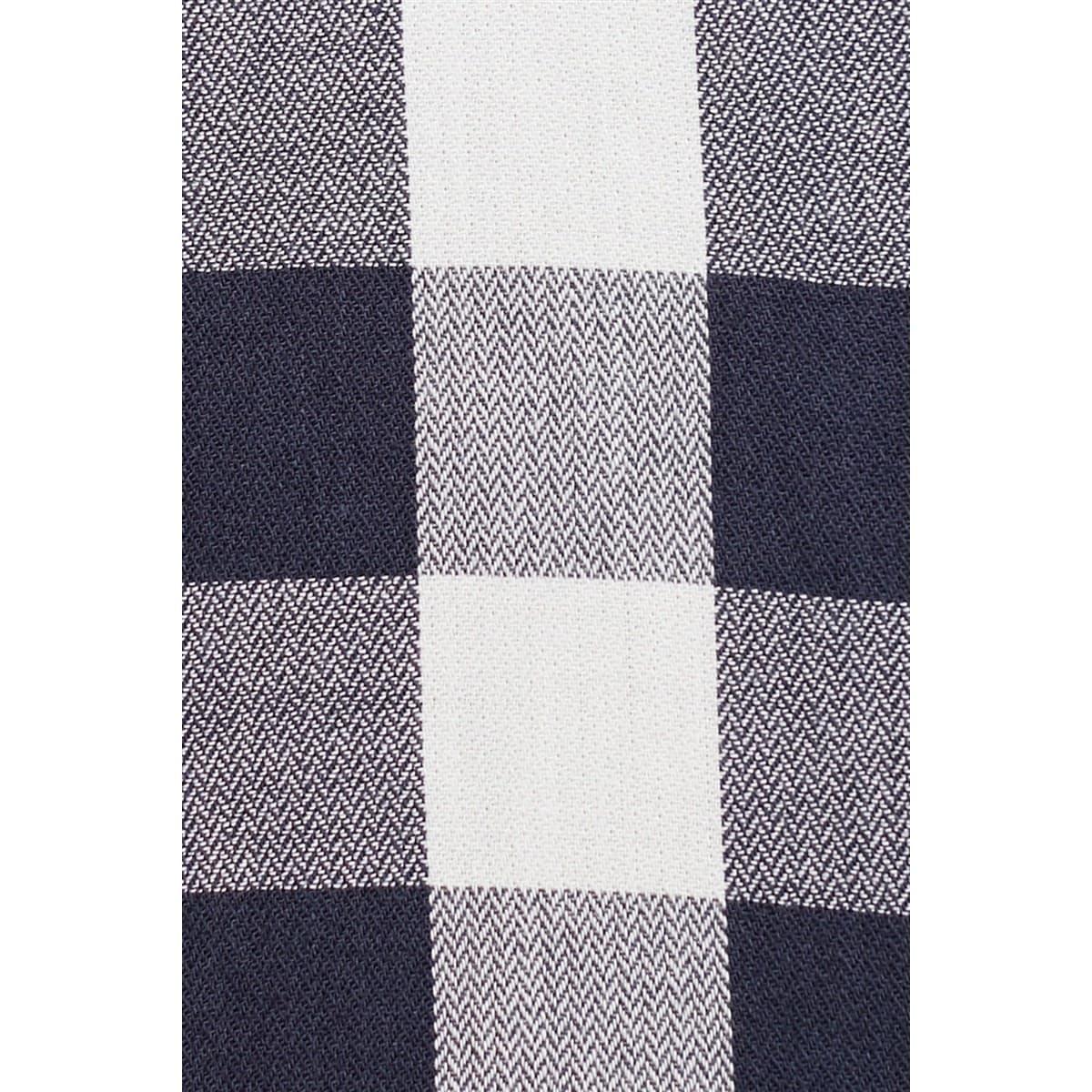 V Yaka Elbise Derin Mavi Kareli