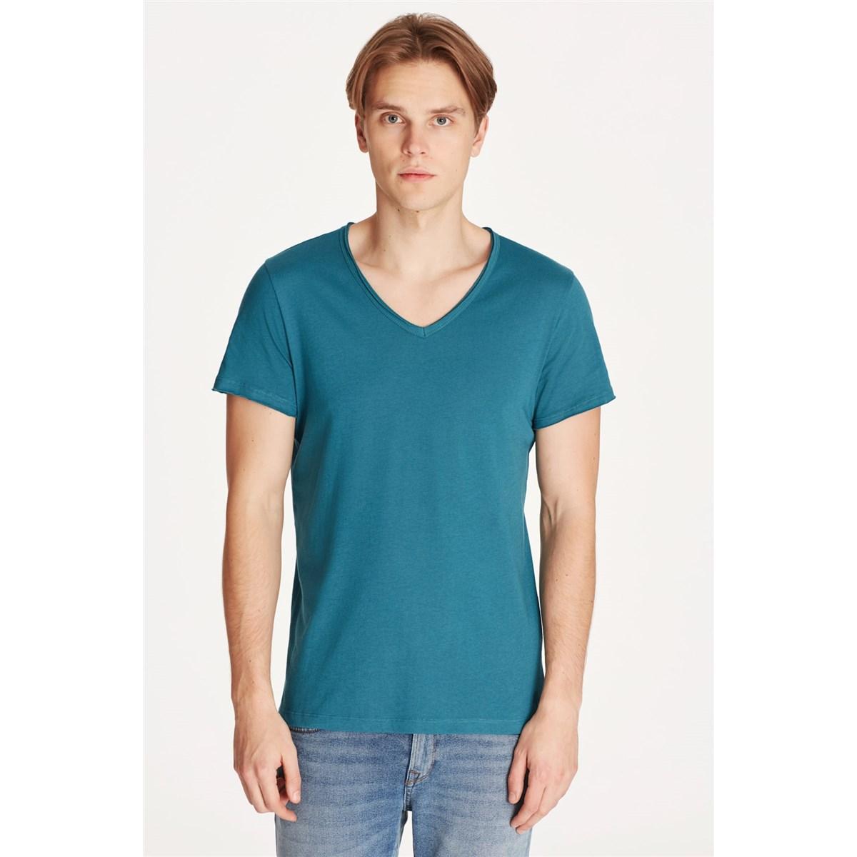 Mavi Jeans V Yaka Petrol Yeşili Erkek Basic Tişört