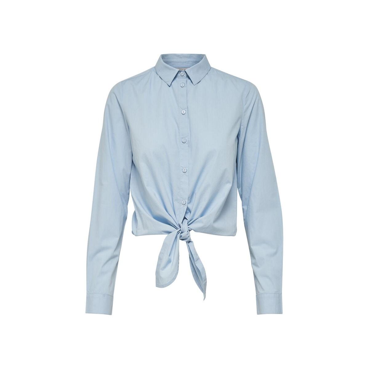 Allison Önden Bağlamalı Kadın Mavi Gömlek