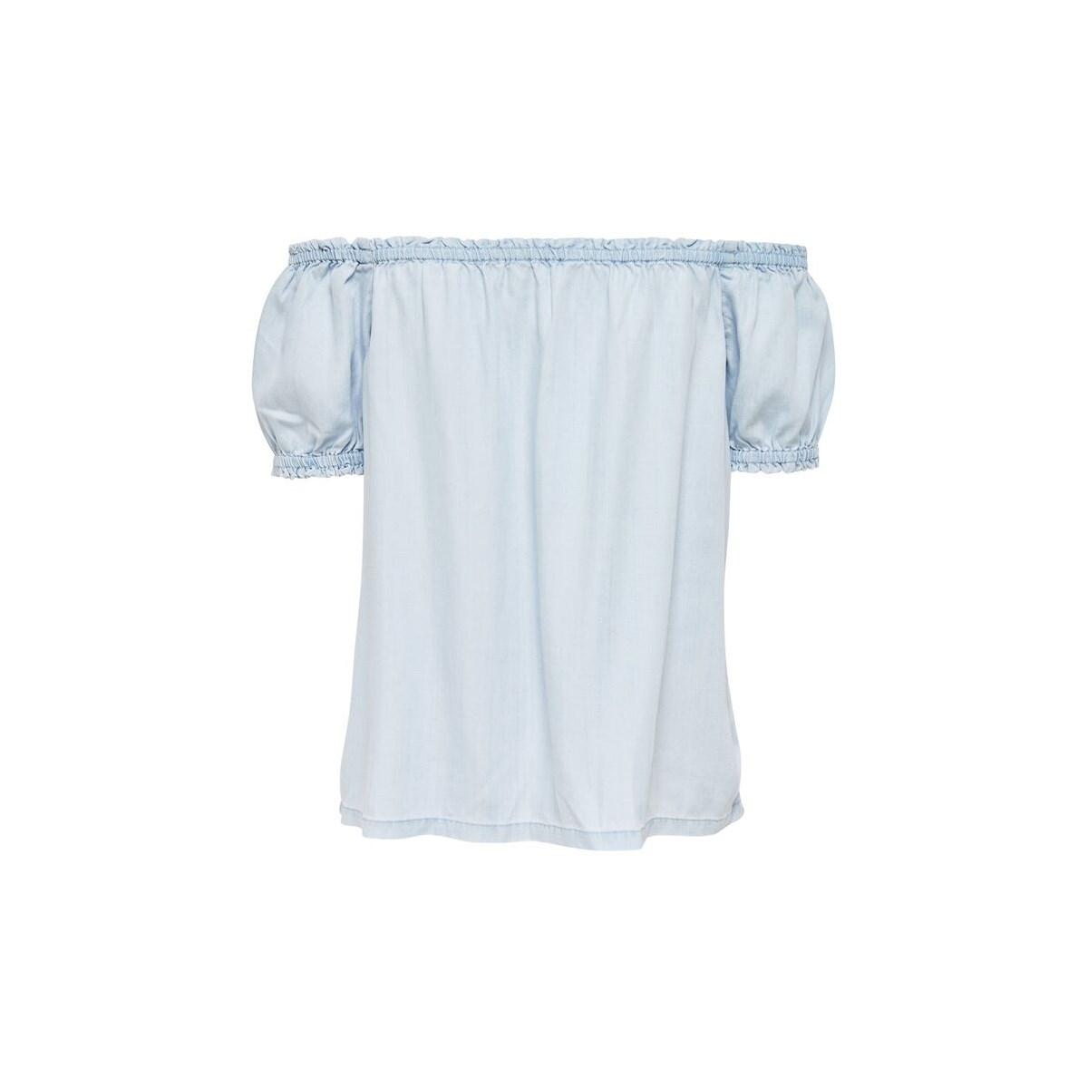 Düşük Omuz Kadın Açık Mavi Bluz
