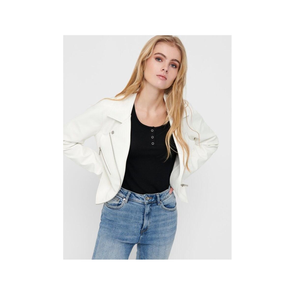 Only Enya Faux Leather Kadın Beyaz Biker Ceket